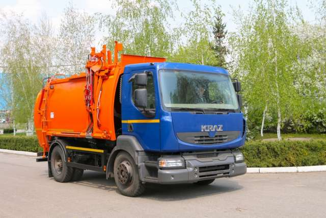 KrAZ has developed a new garbage truck with side loading